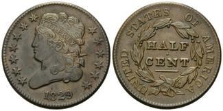1/2 Cent 1829, USA, Classic Head, ss
