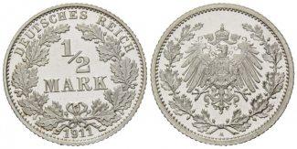 Deutsches Reich, 1/2 Mark 1911 A PP Kleinm...