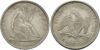 50 Cents 1839, USA, Liberty Seated Half Dollar, f. Haarlinien, vz+
