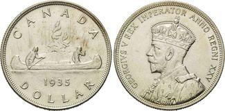 Dollar 1935 Kanada, Georg V. - Kanu, f.st