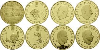 Satz Gedenkmünzen 1991-1993 Norwegen, Olym...