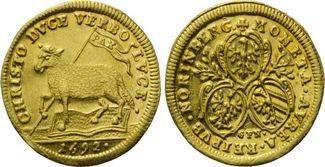 1/2 Dukat 1692 Nürnberg, Lamm, f.vz