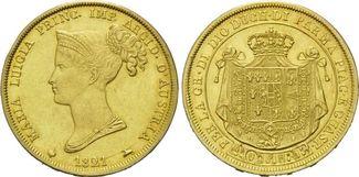 40 Lire 1821, Italien-Parma, Maria Luicia, 1814-1847, ss-vz, Probierspuren, f.Kr., sehr seltenes Jahr