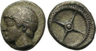 Hemidrachme um 450 v. Chr. Bithynien, Kalchedon, selten, ss, l.porös