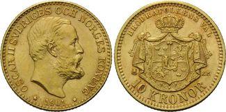 10 Kronen 1901, Schweden, Oskar II., 1872-1907, Kr., ss/vz