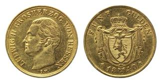 5 Gulden 1840 HR, Hessen-Darmstadt, Ludwig II., 1830-1848, ss-vz