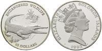 10 Dollars 1992, Salomonen, Salzwasserkrokodil - Endangered Wildlife, PP  27,00 EUR25,00 EUR kostenloser Versand
