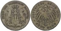 5 Mark 1904, Hamburg, Freie und Hansestadt, s-ss  29,00 EUR28,00 EUR  zzgl. 6,40 EUR Versand