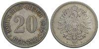 20 Pfennig 1874 H, Kaiserreich, Kleinmünze, vz/st  78,00 EUR kostenloser Versand