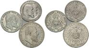 Lot von 3 Münzen: 5 Mark und 3 Mark 1902-1911, Württemberg, Wilhelm II.... 119,00 EUR kostenloser Versand