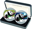 2x 10 Yuan 2016 China, Panda Tag & Nacht, ...