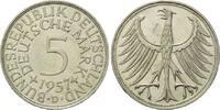 5 Mark 1957 D BRD, Silberadler - Kursmünze, vz-st  195,00 EUR  zzgl. 6,40 EUR Versand
