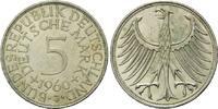 5 Mark 1960 J BRD, Silberadler - Kursmünze, bankfrisch  100,00 EUR  zzgl. 6,40 EUR Versand