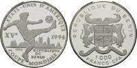 1000 Francs 1992, Benin, Fußball-WM 1994, PP  38,00 EUR kostenloser Versand