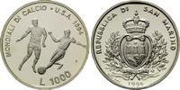 1000 Lire 1994, San Marino, Fußball-WM 1994, PP, feine patina  28,00 EUR kostenloser Versand