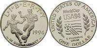 Dollar 1994, USA, Lot von 2 Münzen: Fußball-WM 1994 in den USA, PP  60,00 EUR kostenloser Versand