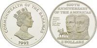 5 Dollars 1992, Bahamas, 500 Jahre Entdeckung Amerikas offene PP  26,00 EUR kostenloser Versand