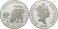 100 Dollars 1991, Cook-Inseln, Bedrohte Tierwelt - Elefanten, PP  139,00 EUR kostenloser Versand