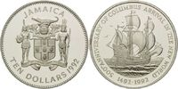10 Dollars 1992, Jamaika, 500 Jahre Entdeckung Amerikas, Karavelle, PP  26,00 EUR kostenloser Versand
