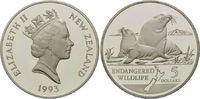 5 Dollar 1993, Neuseeland, WWF, bedrohte Tierwelt - Seelöwen, PP  26,00 EUR kostenloser Versand