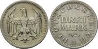3 Mark 1924 A, Weimarer Republik, Kursmünze mit Krüppelprägung - Randsc... 79,00 EUR kostenloser Versand
