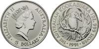 5 Dollars 1991, Australien, Kookaburra, 1 Unze Feinsilber, st  34,00 EUR  zzgl. 6,40 EUR Versand