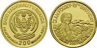 200 Francs Gold 2007, Ruanda, Dian Fossey, 75. Geburtstag, PP  65,00 EUR kostenloser Versand
