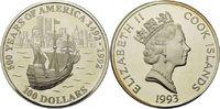 100 Dollars 1993, Cook Islands, 5 Unzen, 500 Jahre Amerika - Segelschif... 195,00 EUR kostenloser Versand