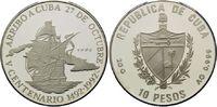 10 Pesos 1990, Kuba, 500 Jahre Entdeckung Amerikas, Karavelle vor Karte... 34,00 EUR kostenloser Versand