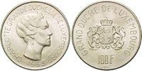 100 Francs 1963, Luxemburg, Charlotte, vz-st  24,00 EUR  zzgl. 6,40 EUR Versand
