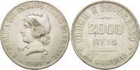 2000 Reis 1907, Brasilien, Republik, Freiheitskopf, Rf.,ss  15,00 EUR  zzgl. 6,40 EUR Versand
