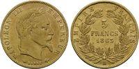 5 Francs 1865 A, Frankreich, Napoleon III., 1852-1870, fein.Haarl., win... 215,00 EUR kostenloser Versand