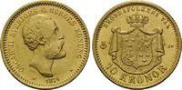 10 Kronen 1874, Schweden, Oskar II., 1872-1907, kl.Kr., winz.Rdf., vz+  200,00 EUR kostenloser Versand