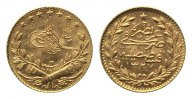 T&uuml;rkei, 25 Kurush AH 1327,  GOLD, vz Muhammad V., 1909-1918, 100,00 EUR 