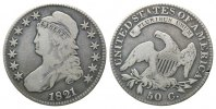 USA, 50 Cents 1821,  Rdf., ss Liberty Capped Half Dollar, 120,00 EUR