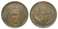 D&auml;nemark, 5 &Ouml;re 1875 CS, Kopenhagen,  ss Christian IX., 1863-1906, 60,00 EUR 