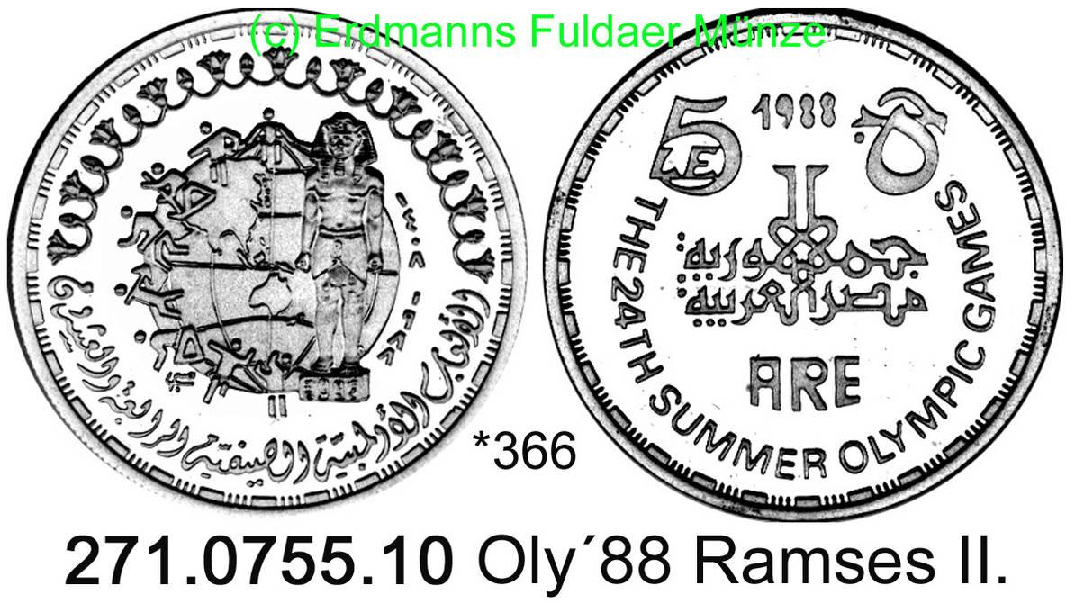 5 Pounds 1988 Ägypten Egypt *366 Oly´88 Ramses II. PP