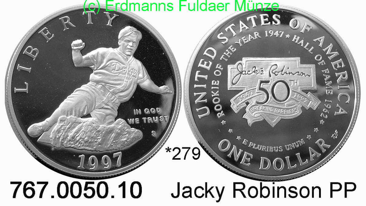 USA/Vereinigte Staaten von Amerika *279 Jackie Robinson 1 Dollar 1997 S PP 