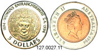 5 Dollars 1994 Australia Australien *246 KM224 Frauenstimmrecht  . 127.... 28,00 EUR  zzgl. 4,75 EUR Versand