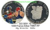 1000 Francs 1997 Congo-Brazzaville (VR) *43  Farbmünze Boxen PP  61,00 EUR  zzgl. 6,50 EUR Versand