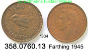 Great Britain Großbritannien 1 Farthing  *334 Vogel . .