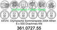 6 Werte 2000 Greece Griechenland *125 bis *130 Oly´2004 . 361.0727.55  ... 29,25 EUR  zzgl. 4,75 EUR Versand