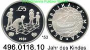 5 Pounds 1981 Malta Republik of Malta *53 KM53 Jahr des Kindes . 496.01... 53,75 EUR  zzgl. 6,50 EUR Versand