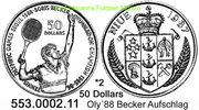 50 Dollars 1987 Niue *2 KM2 Oly´88 Becker Aufschlag PL  49,50 EUR  zzgl. 4,75 EUR Versand