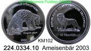 10 Francs 2003 Congo-Kinshaza (Democrat.Rep.) KM102 Ameisenbär Giant Pa... 39,00 EUR  zzgl. 4,75 EUR Versand