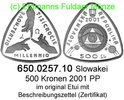 500 Kronen 2001 Slovakia Slowakei *57 KM57  Millennium . 650.0257.10 PP  120,00 EUR