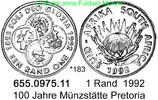 1 Rand 1992 South Africa Südafrika *183 Münzstätte Pretoria. unc  28,75 EUR  zzgl. 4,75 EUR Versand