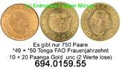 10 + 20 Paanga 1980 Tonga  . *49,*50 FAO Frauenjahrzehnt Gold unc  99,75 EUR  zzgl. 6,50 EUR Versand