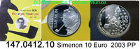 10 Euro Silber 2003 Belgien Georges Simenon . 147.0412.10    PP  23,00 EUR  zzgl. 4,75 EUR Versand
