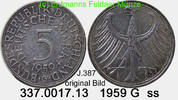5 DM 1959 G Germany Deutschland J.387 Kursmünze Silber . 337.0017.13 ss  29,00 EUR  zzgl. 4,75 EUR Versand